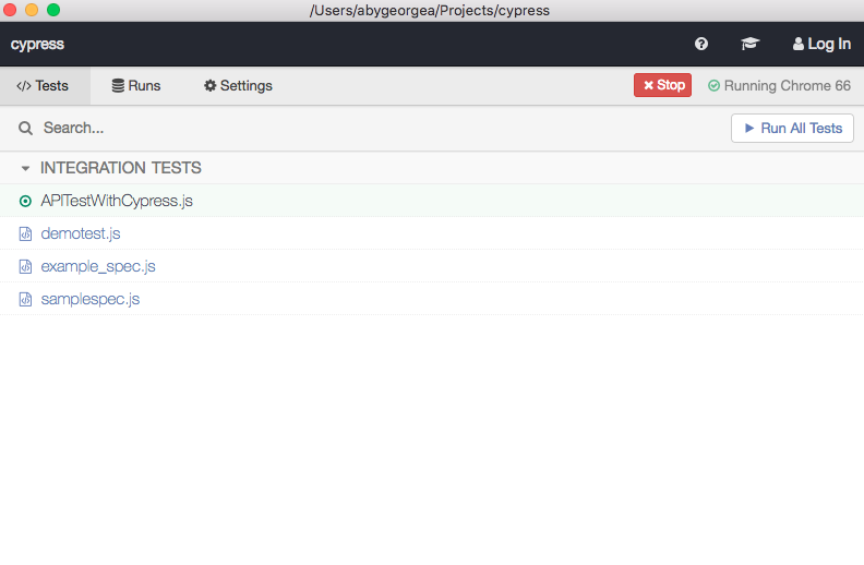 Running API Test Using Cypress - Aby George A